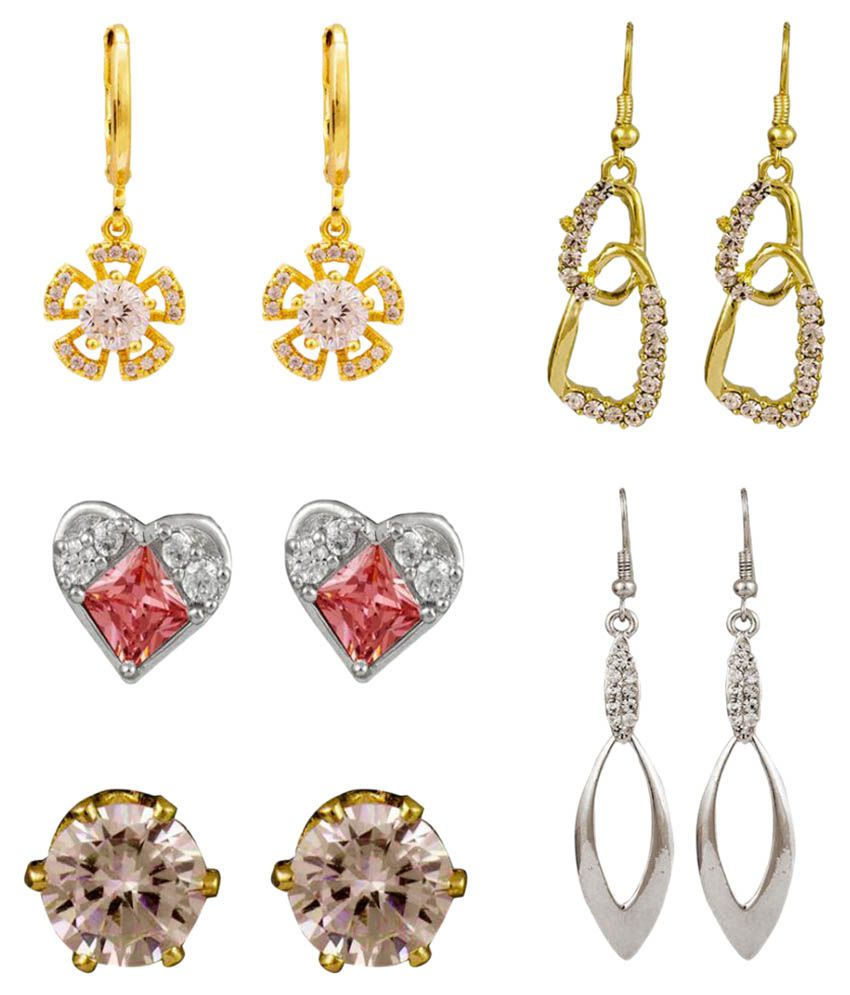 Glitters Multi Colour Earrings - Combo of 5