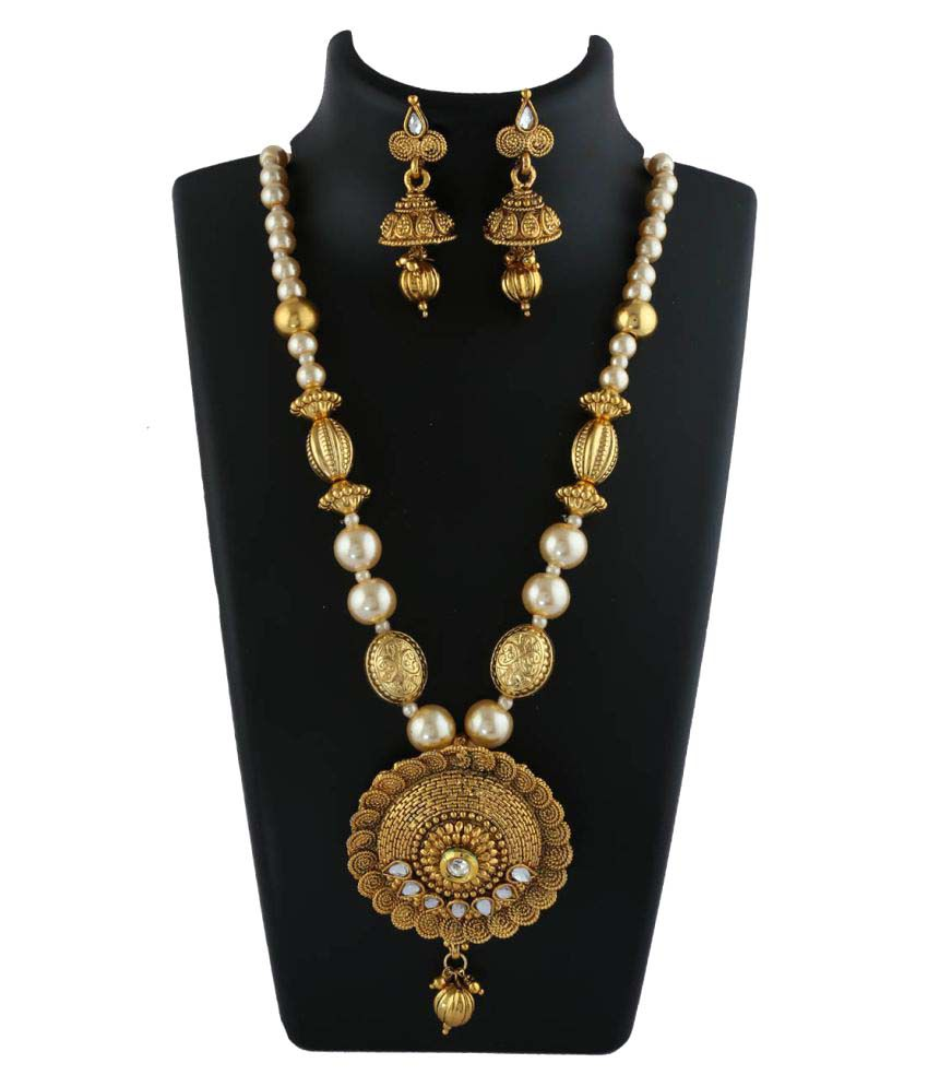 Anuradha Art Golden Necklace Set
