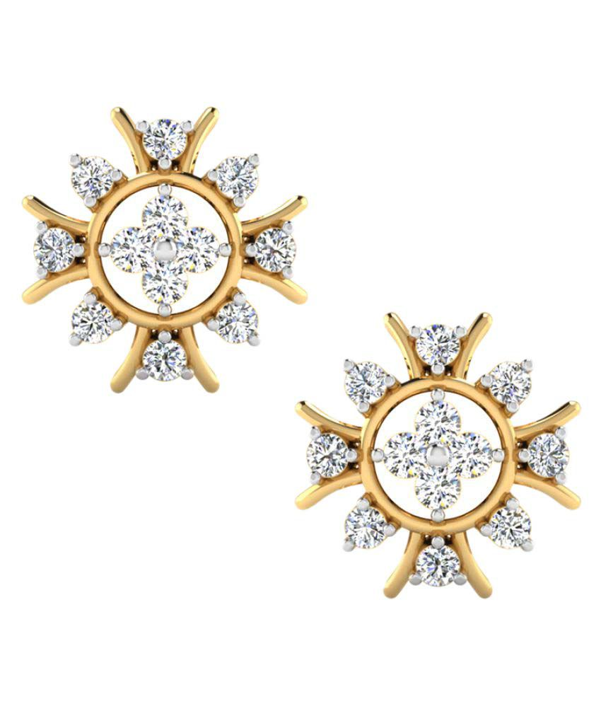 Naginabyiskiuski 14k BIS Hallmarked Yellow Gold Diamond Studs