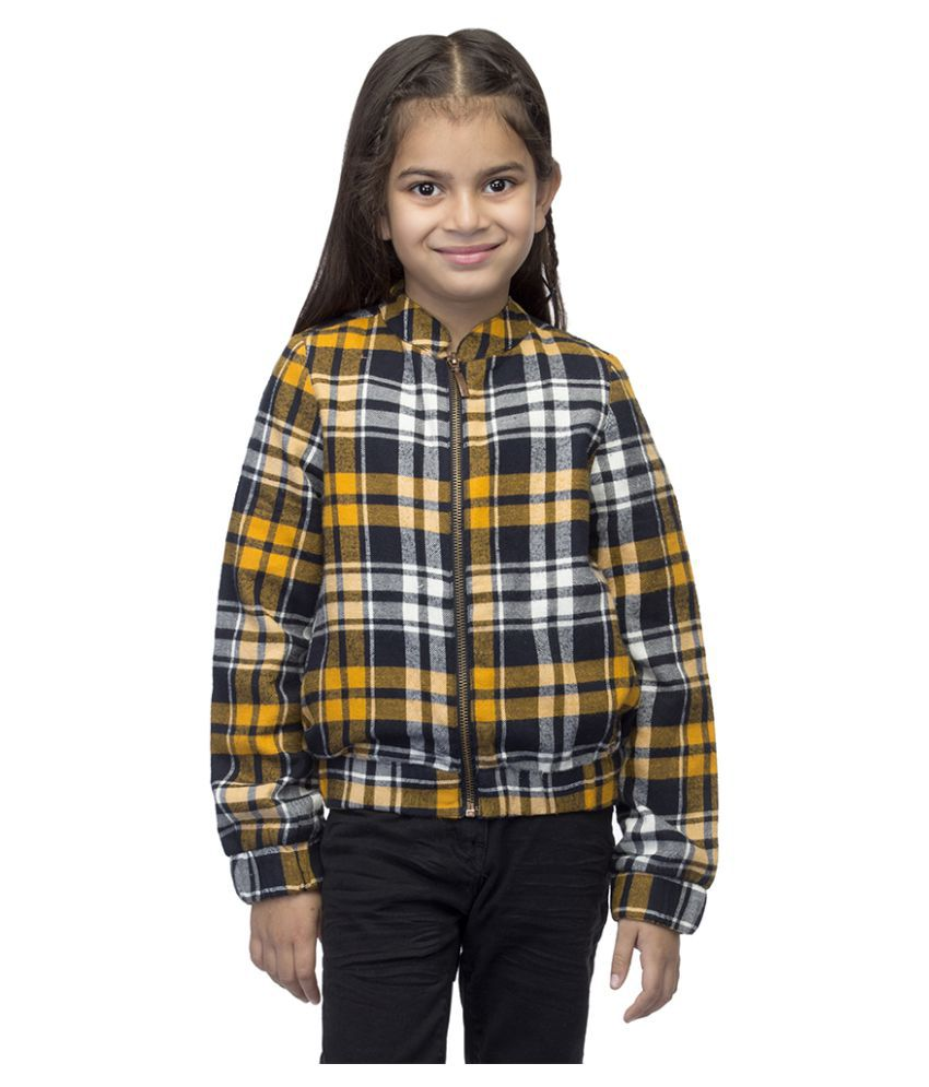 Oxolloxo Girls Multicolored Checks Jacket