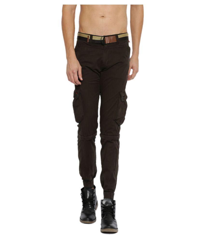 Sports 52 Wear Brown Slim Flat Cargos