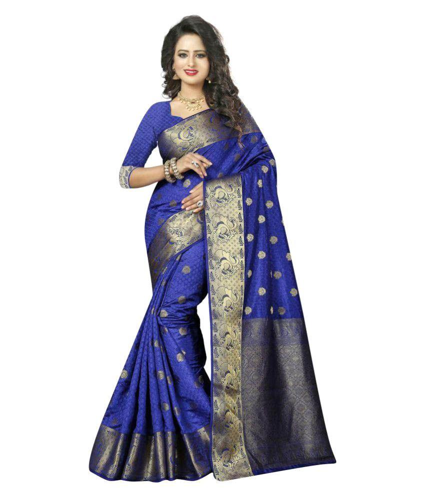 Stutti Fashion Blue Silk Saree