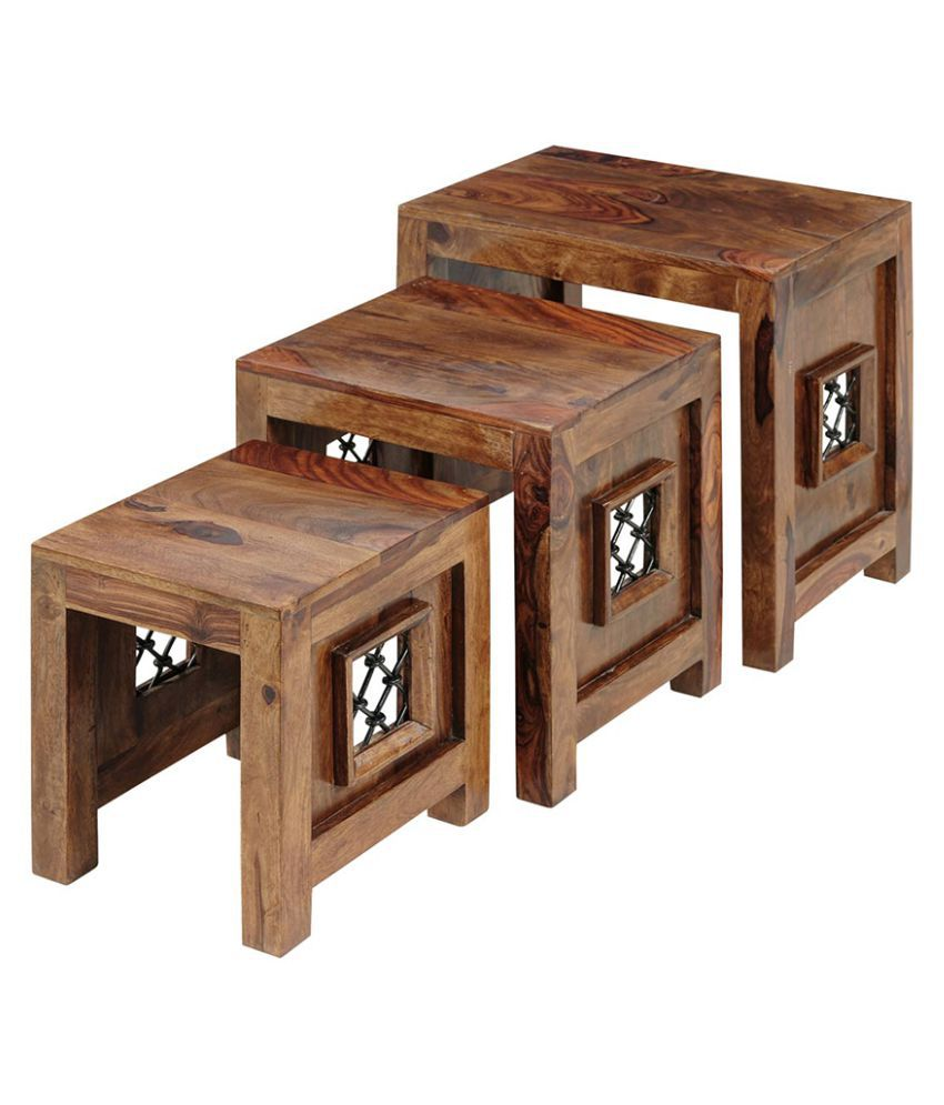 Inhouz Jali Solid Wood Nesting Tables   Teak ...
