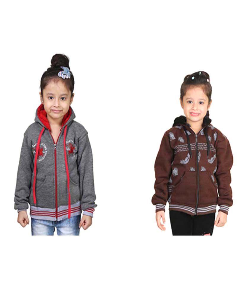 Crazeis Multicolored Fleece Sweatshirt- Pack of 2