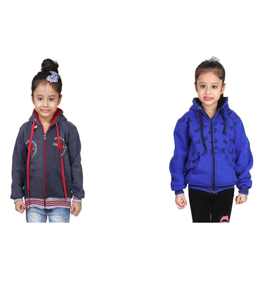 Crazeis Multicolour Sweatshirts For Grils Pack Of 2