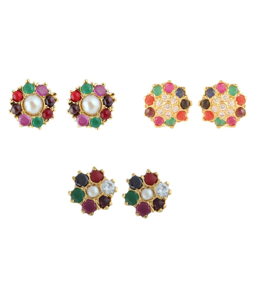 Archi Collection Multicolored Alloy Earrings - Pair of 3