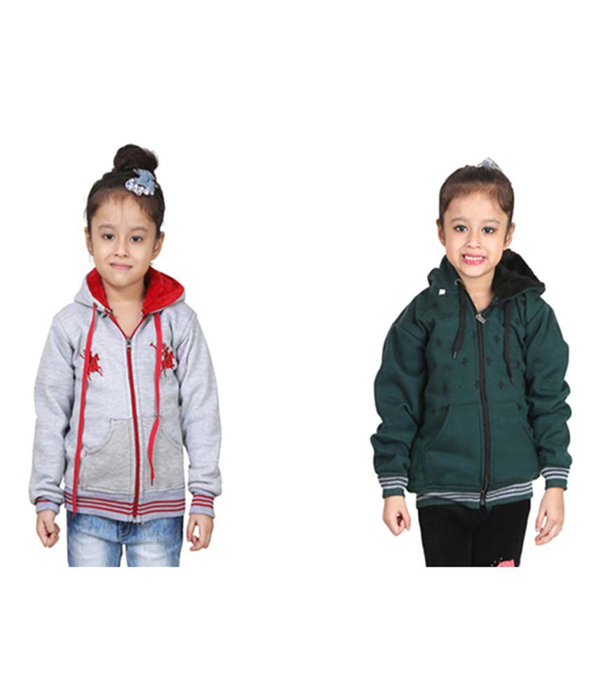 Crazeis Multicolour Hooded Jacket - Pack of 2