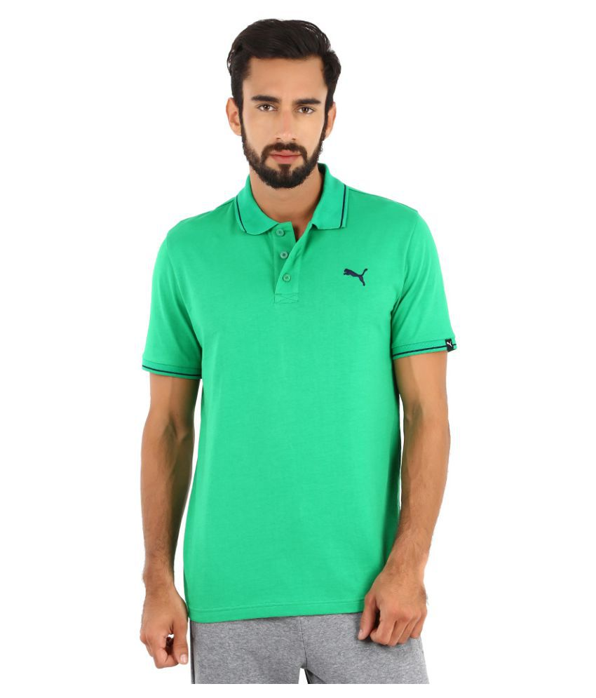 Puma Green Polyester Polo T-Shirt