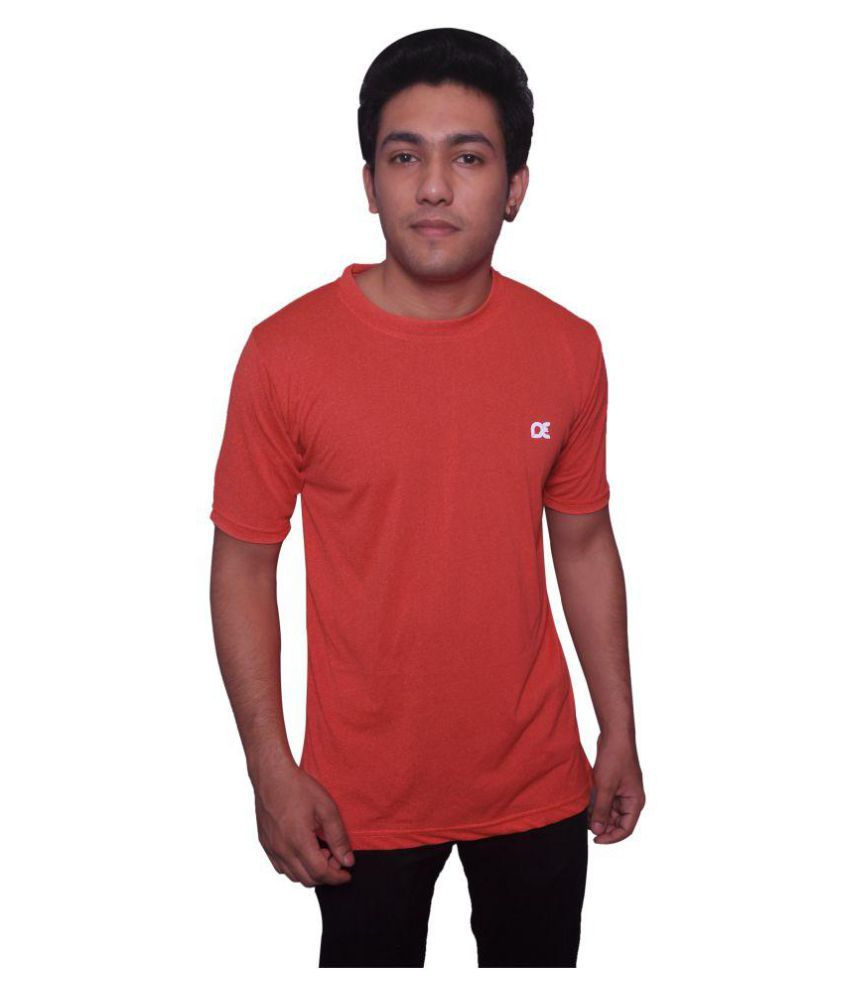Dyed Colours Orange Polyester T Shirt