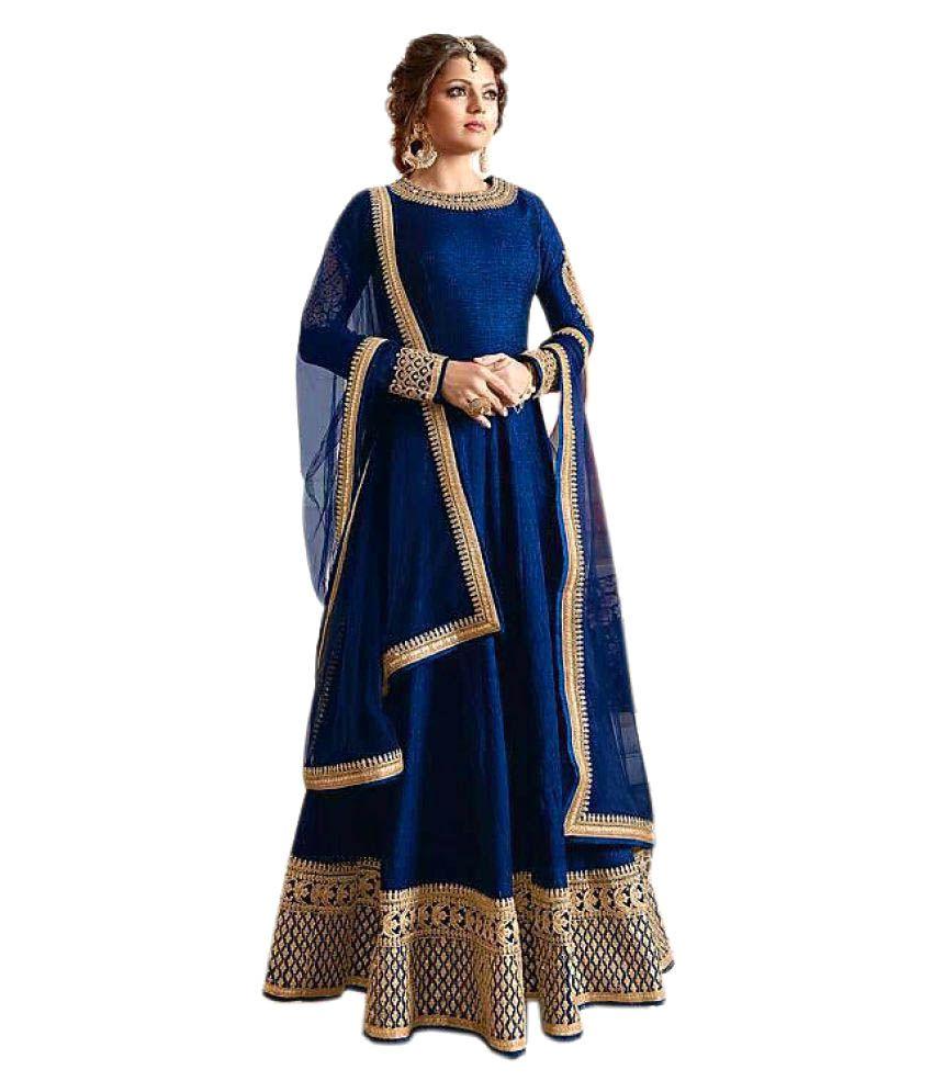 Active Blue Bangalore Silk Anarkali Gown Semi-Stitched Suit - Buy ...