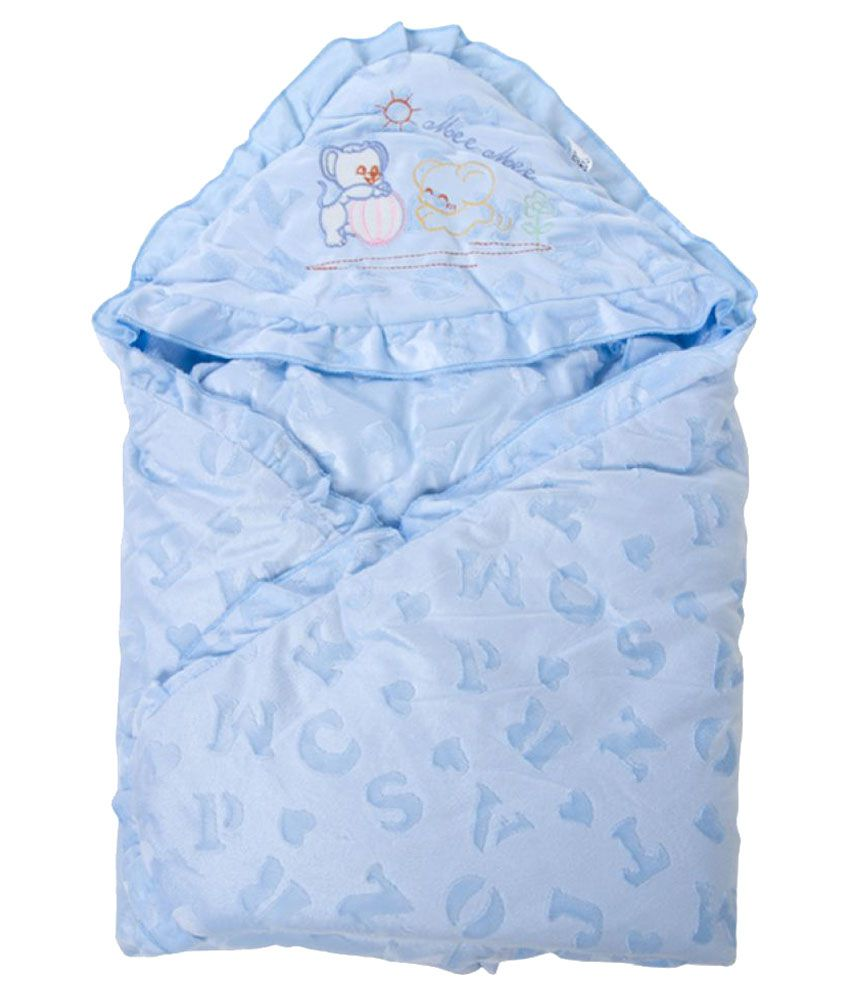 Mee Mee Blue Cotton Baby Wrap cum blanket ( 36 cm × 54 cm - 1 pcs)