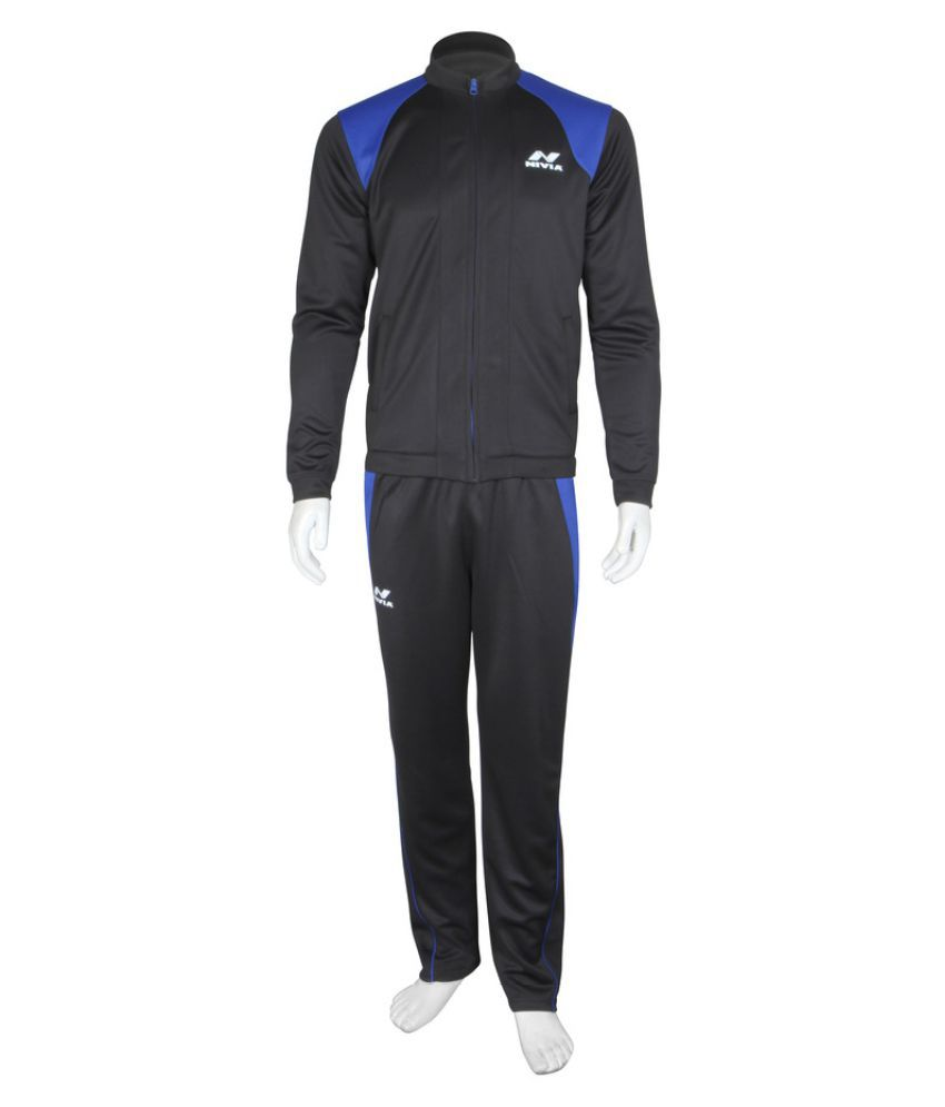Nivia Dura Knit Tracksuit (Black / Navy Blue)