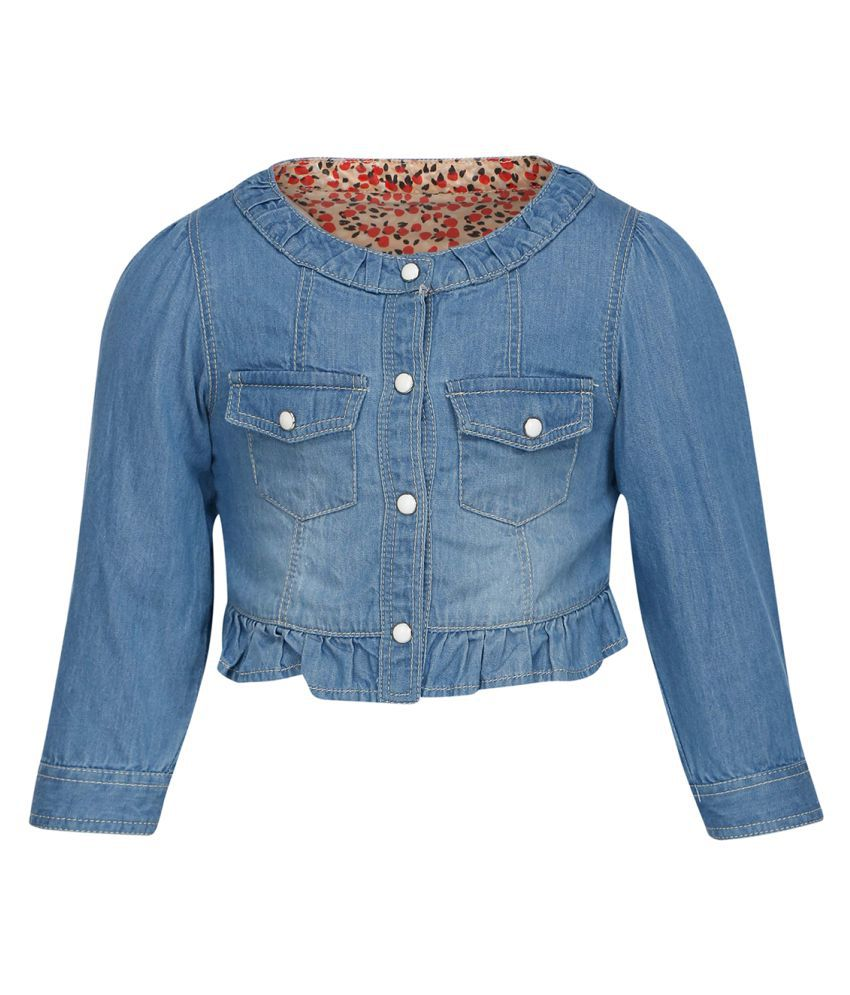 Life by Shoppers Stop Blue Cotton Blend Buttoned Jacket