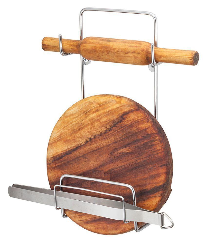 kitchen design stainless steel chakla belan chimta rolling pin holder