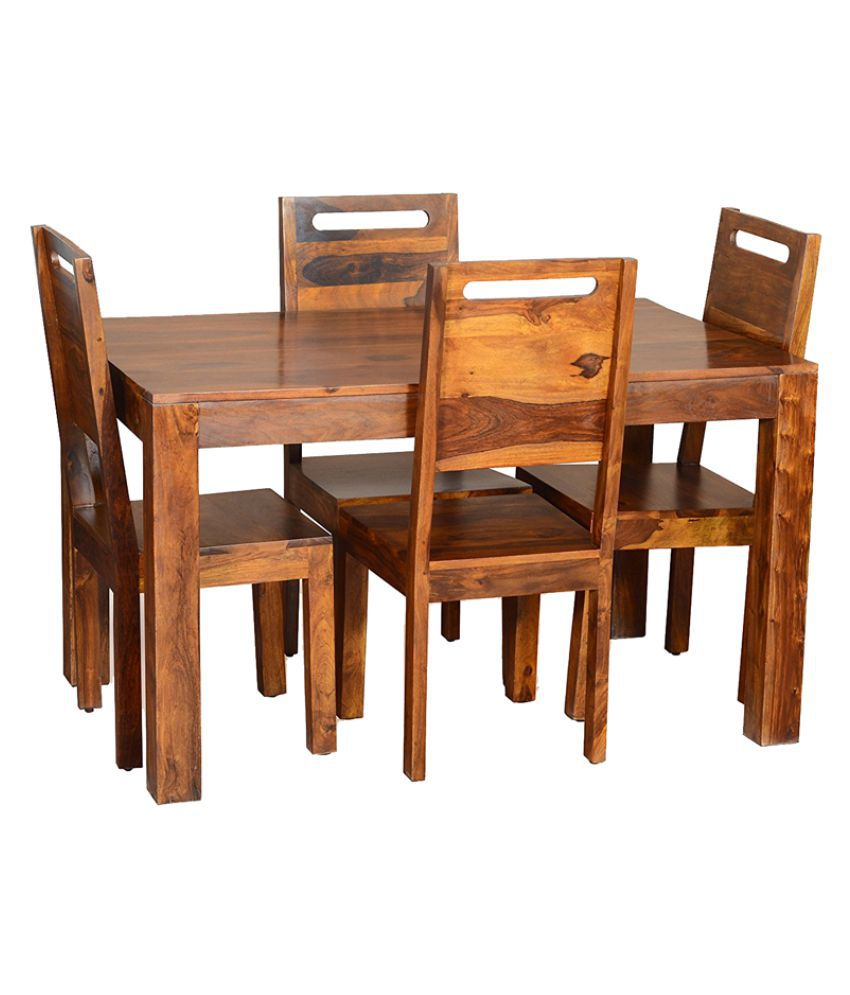 Woodfaber Sheesham Wood 4 Seater Dining Set Table Online At Best Prices In India On Snapdeal