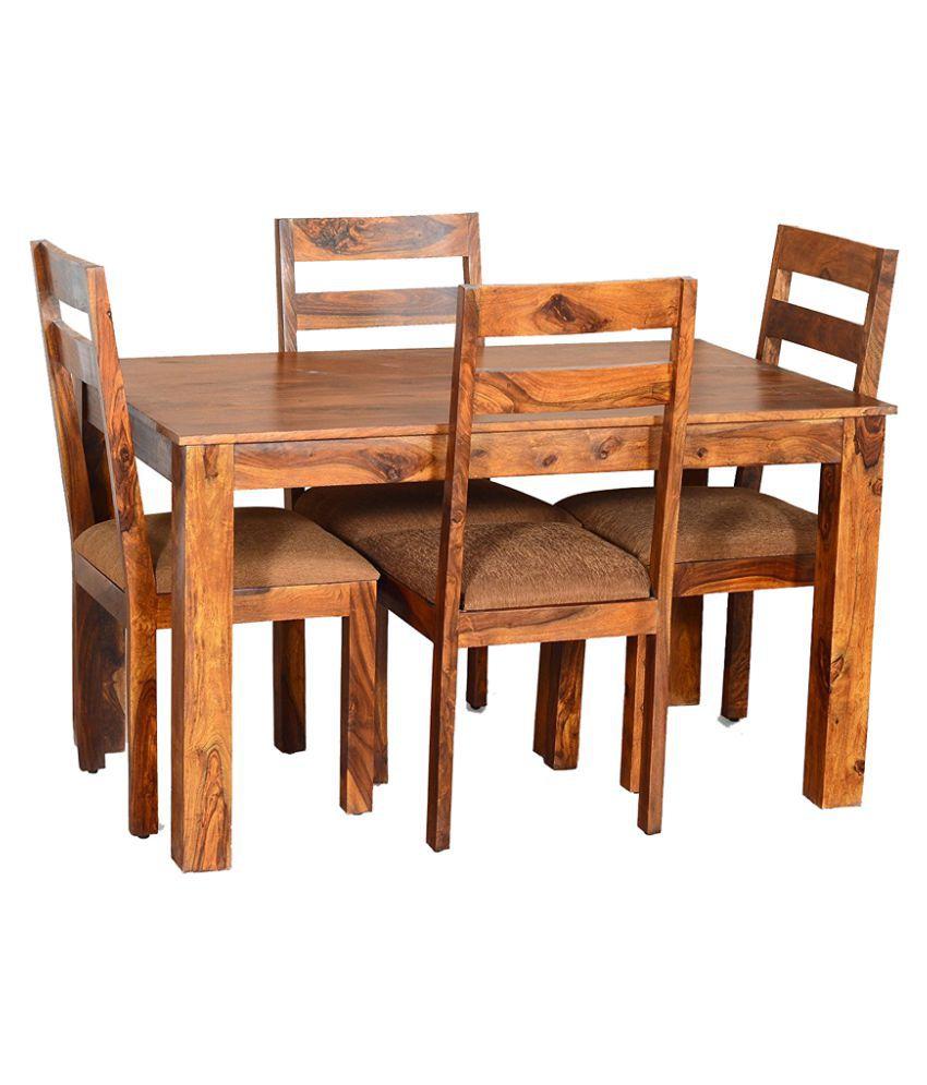 Woodfaber Sheesham Wood Furniture 4 Seater Dining Set