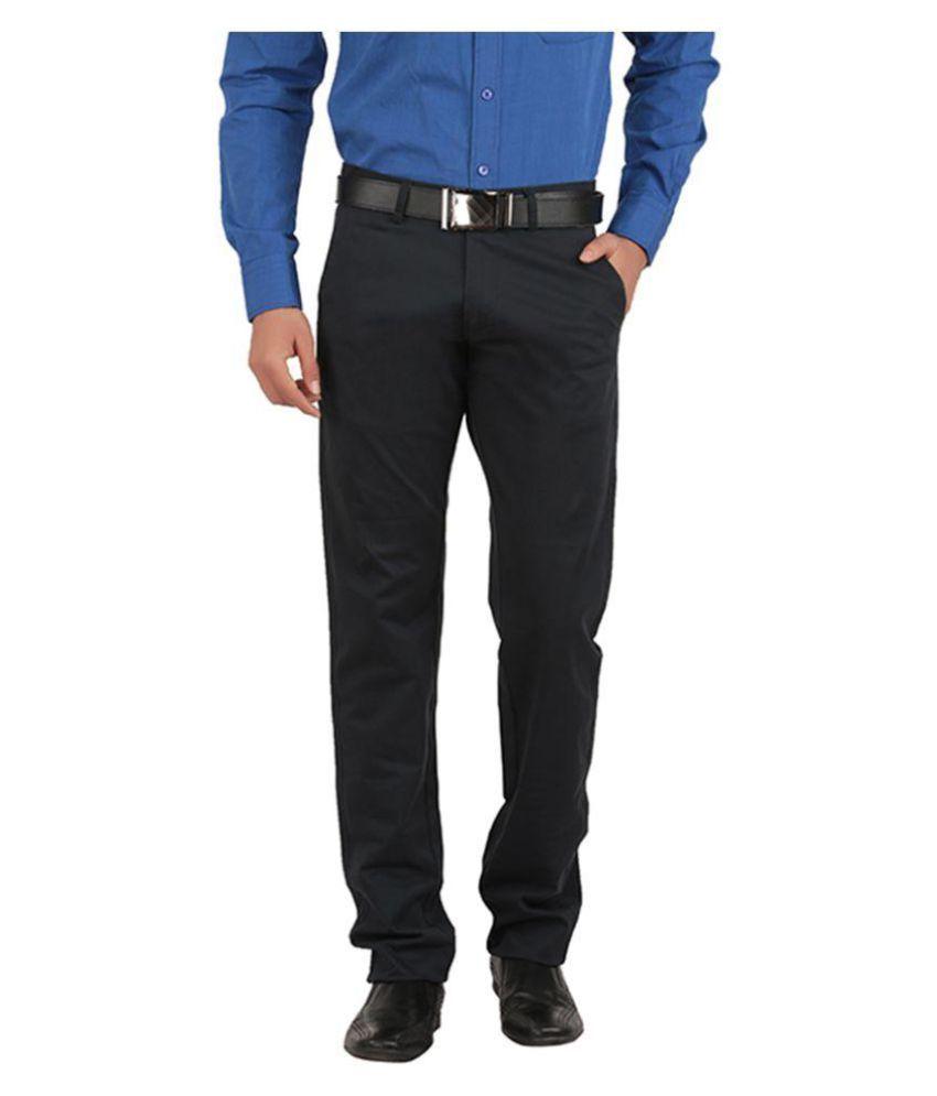 Tibre Black Regular Flat Trousers
