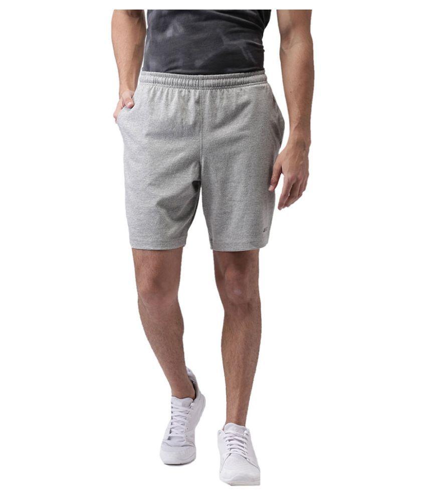 2GO Grey Cotton Blend Fitness Shorts Single