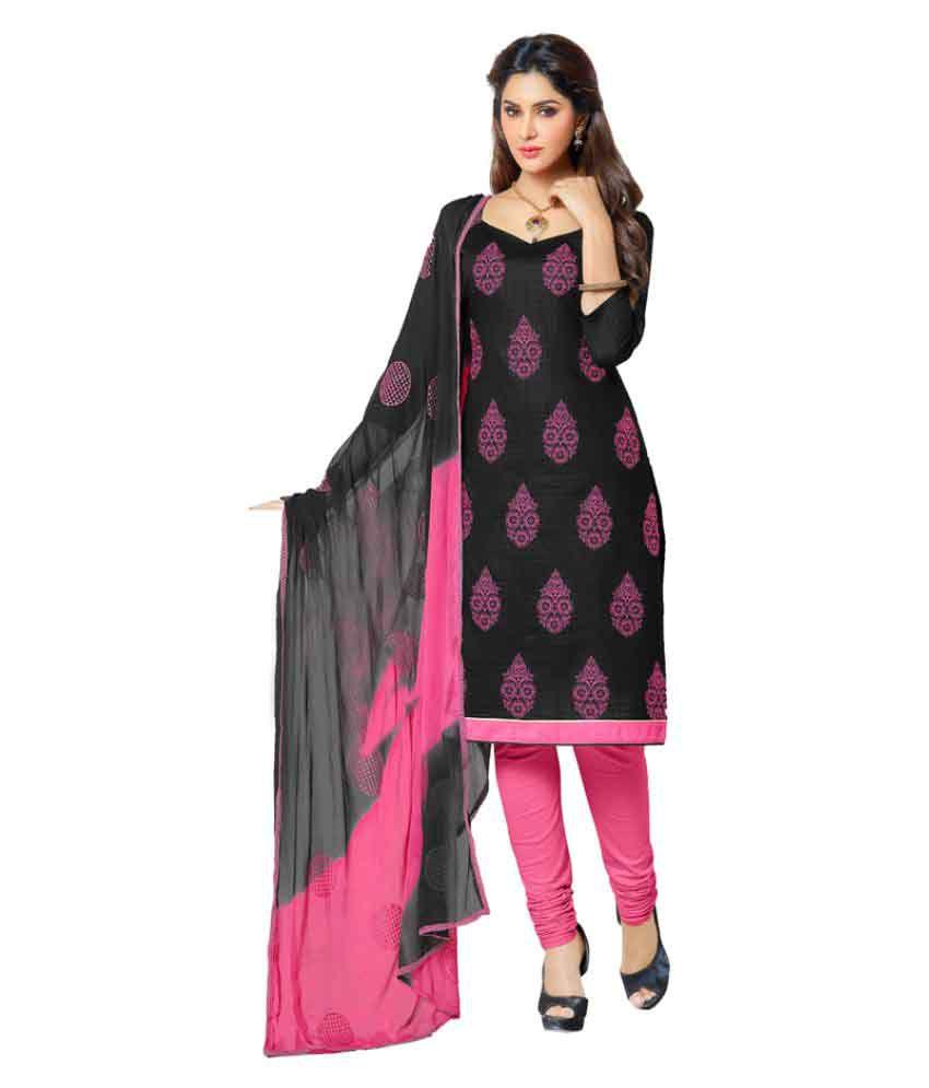 Jiya Black Cotton Dress Material