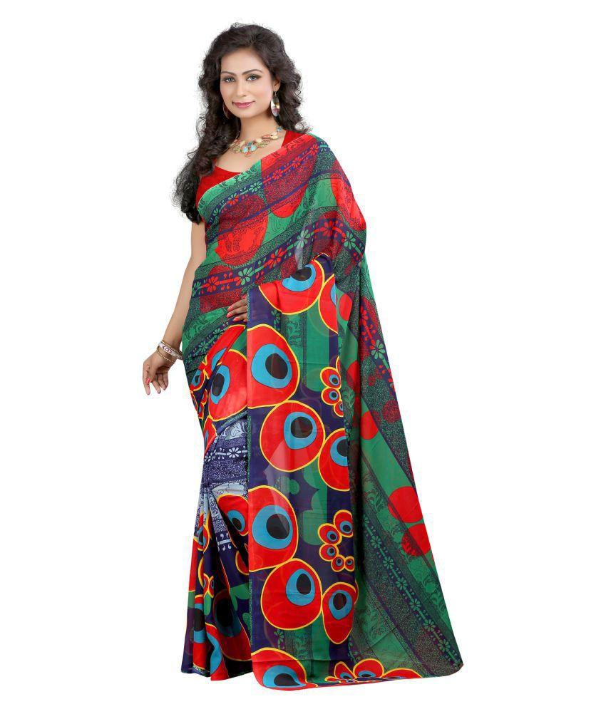 Z Hot Fashion Multicoloured Georgette Saree