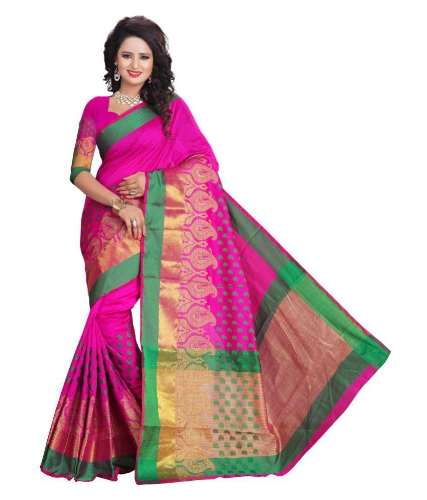 Sarovar Sarees Pink Cotton Saree