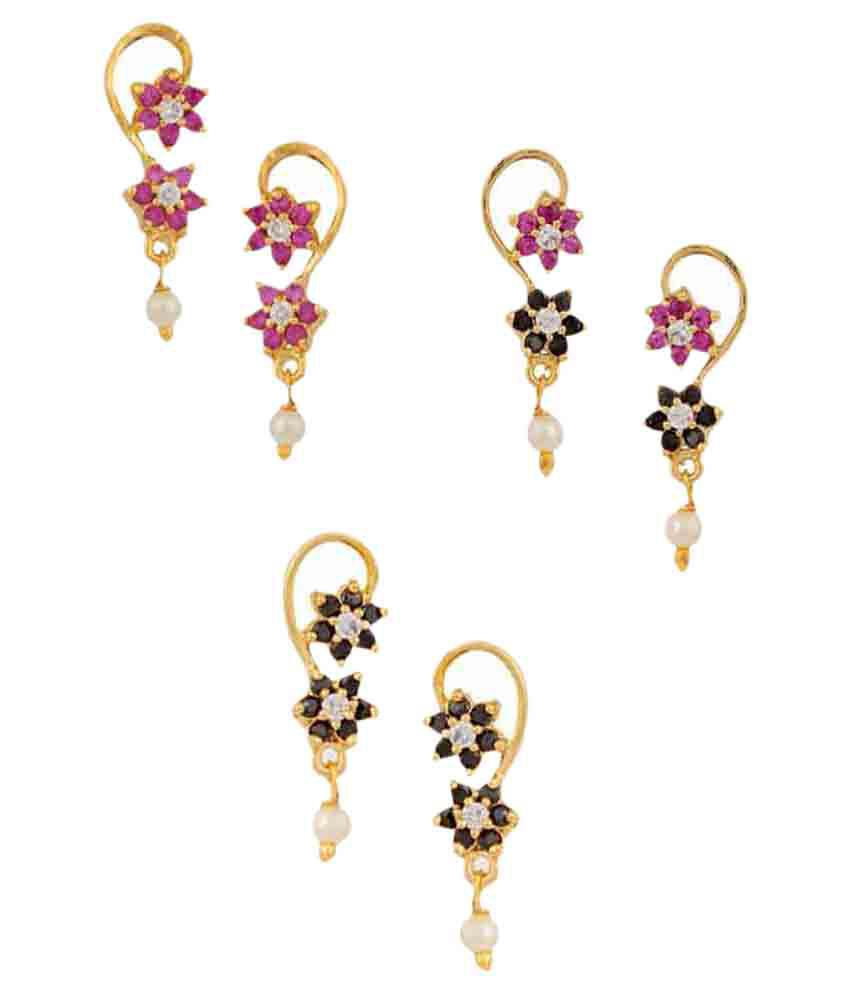 Archi Collection Multicolor Hanging Earrings - Set of 3