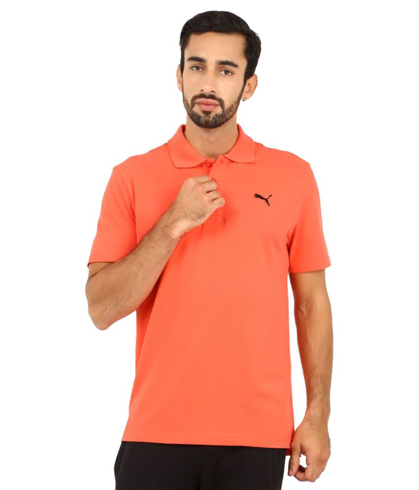 Puma Orange Polyester Polo T-Shirt