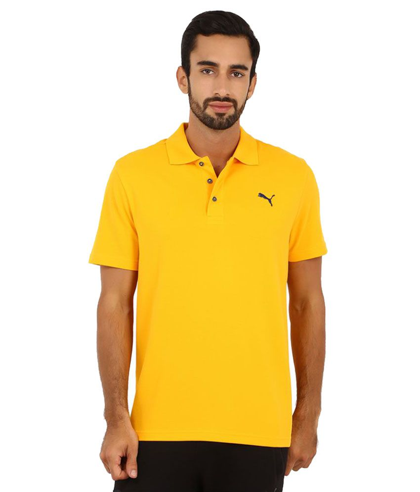 Puma Yellow Polyester Polo T-Shirt