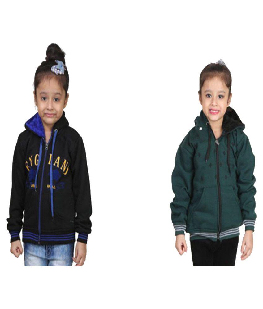 Crazeis Multicolor Fleece Sweatshirts - Pack of 2