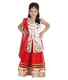 Crazeis Red Net Lehenga Choli Set