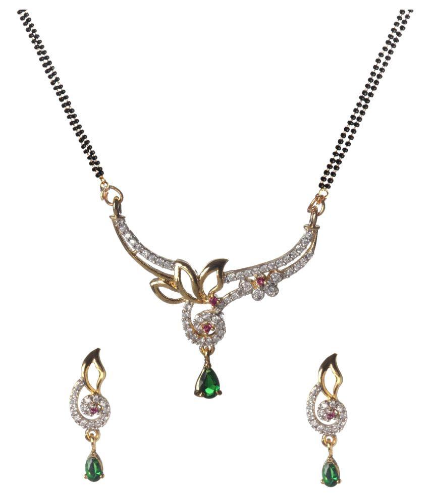 Biyu Golden American Diamond Mangalsutra Set