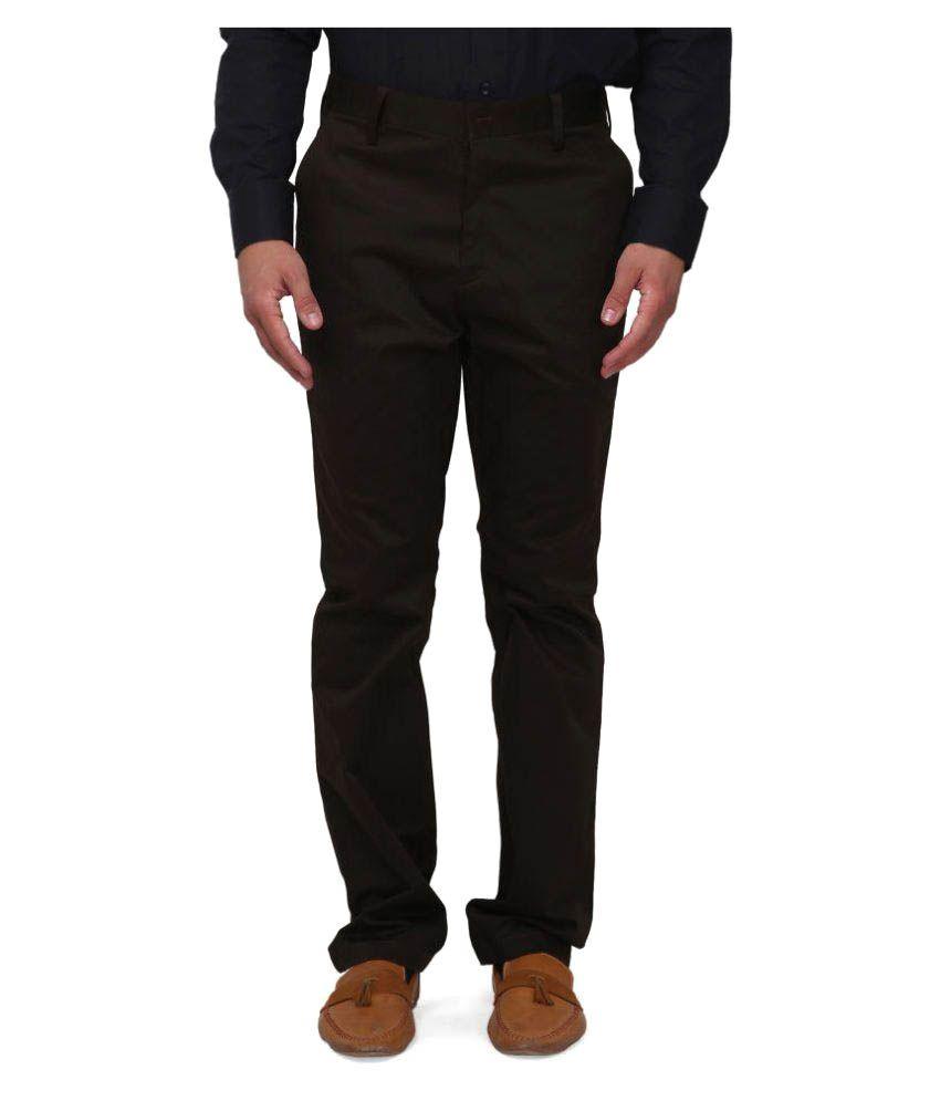Pret A Porter Dark Brown Regular Flat Trousers