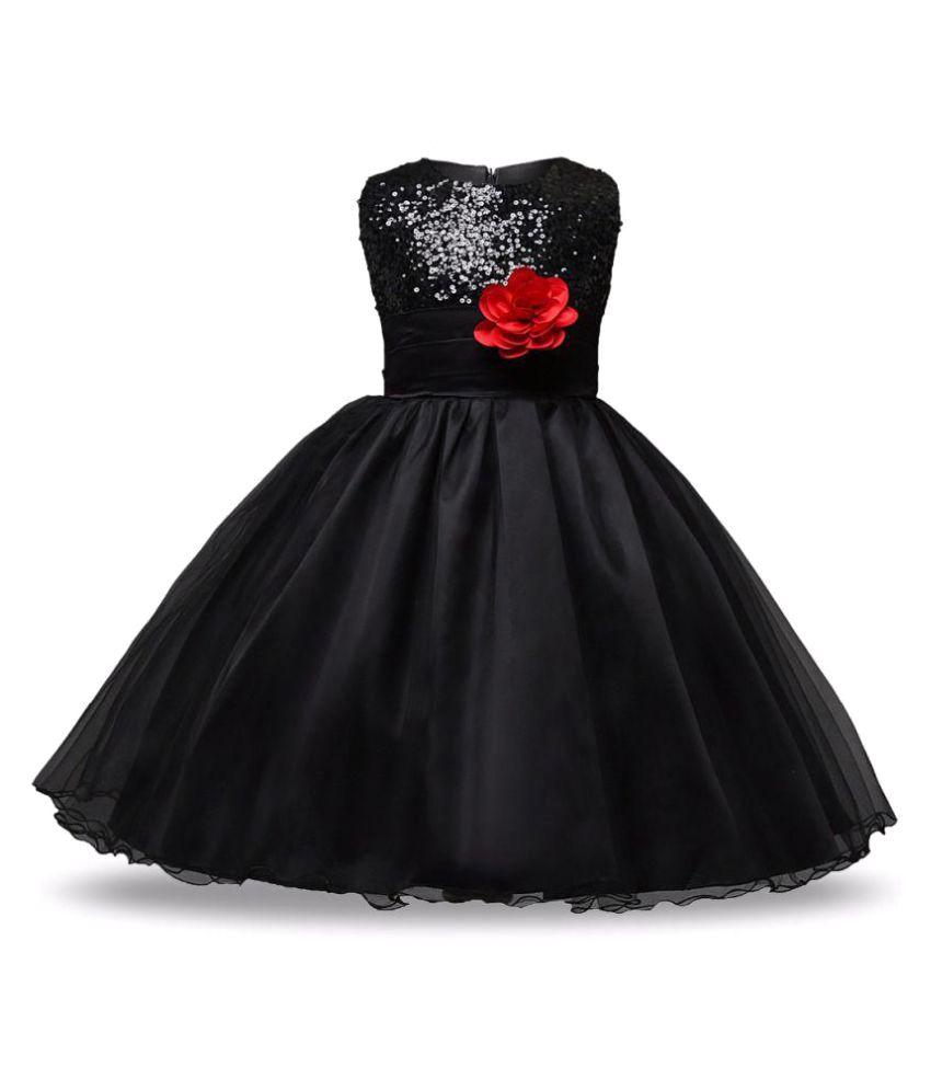 Sofyana Black Satin Baby Girl Birthday Party Wear Dress Baby girl ...