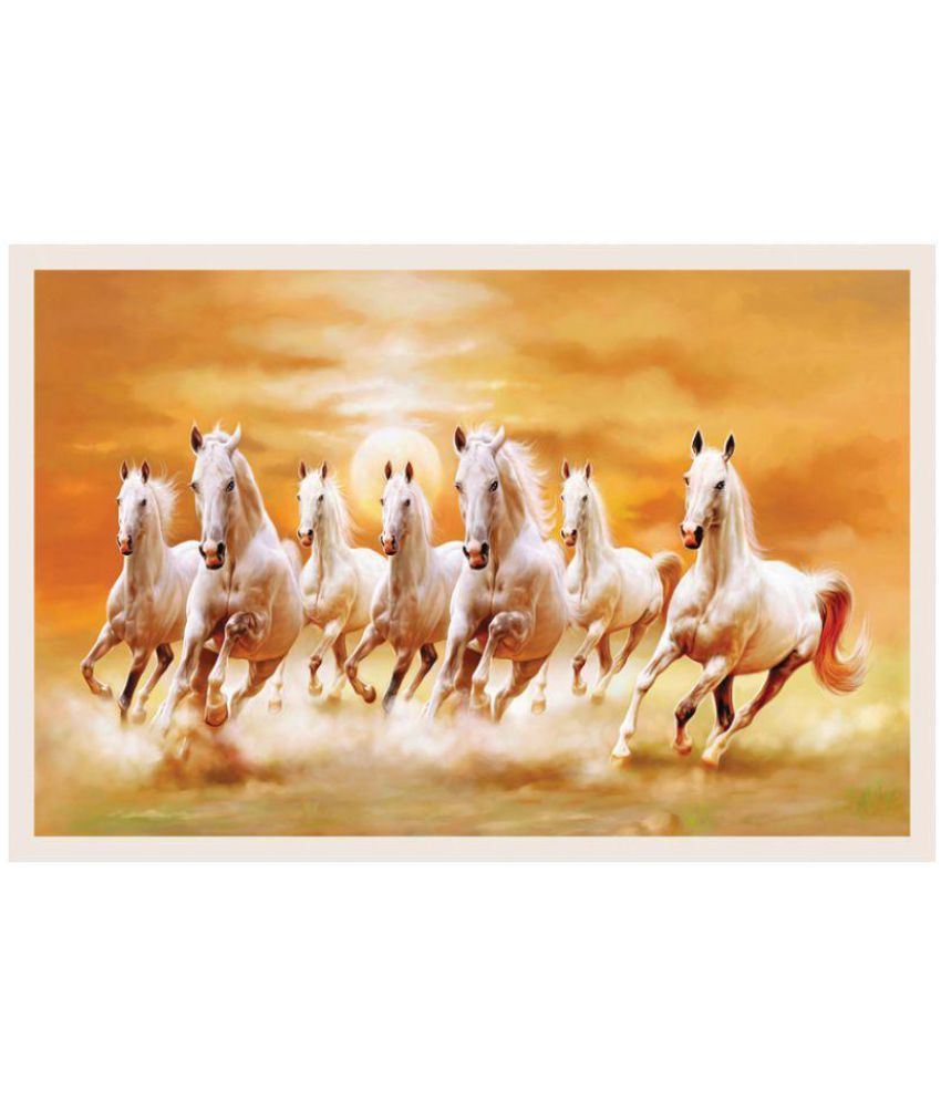 hifex white horses paper art prints without frame single pie