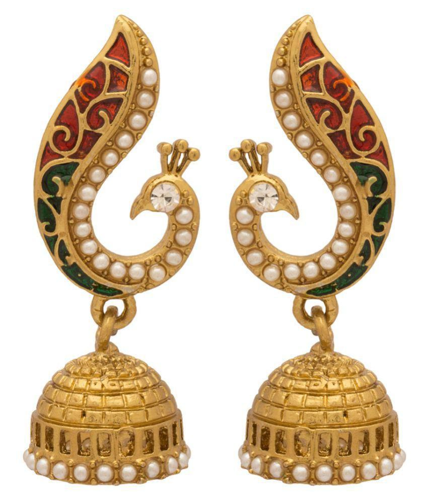 Voylla Golden Peacock Inspired Jhumki Earrings