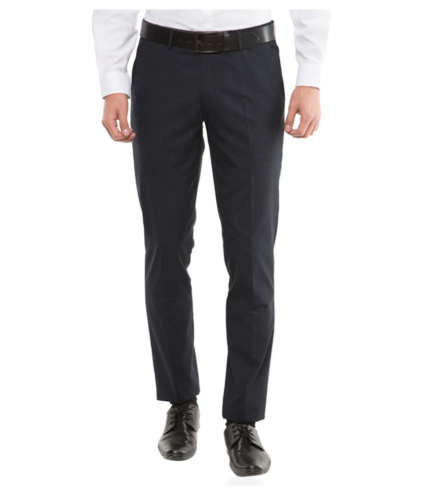 Black Coffee Navy Blue Tapered Flat Trousers