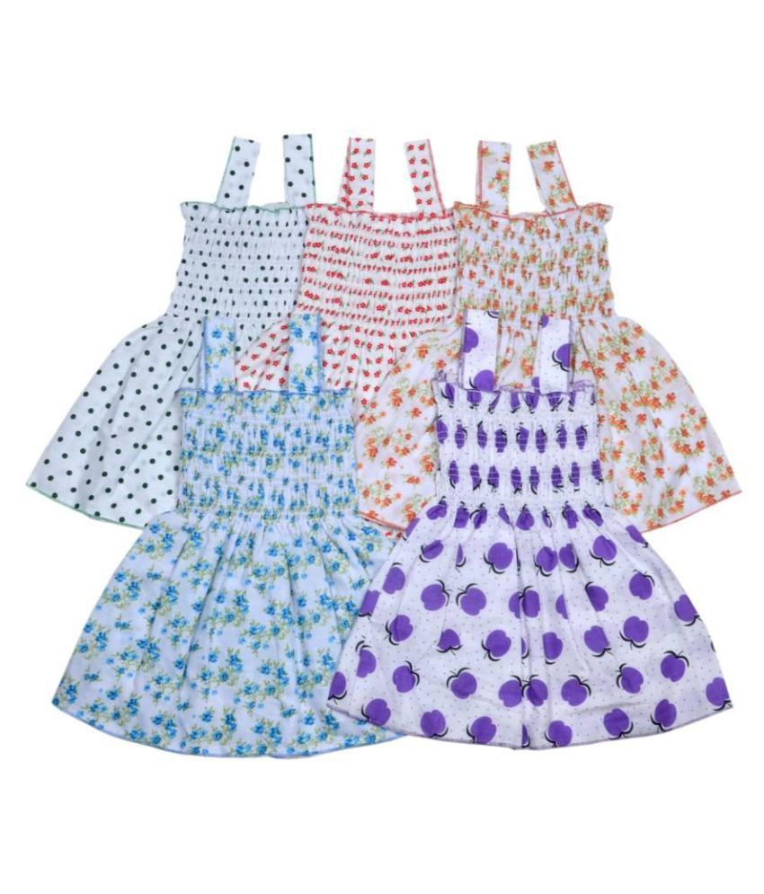 Sathya Comfortable Multicolour Cotton Cute Frocks - Pack of 5 for Newborn Baby Girl