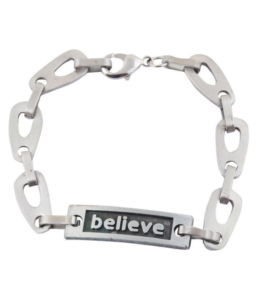 Alpha Man Silver Stainless Steel Bracelet