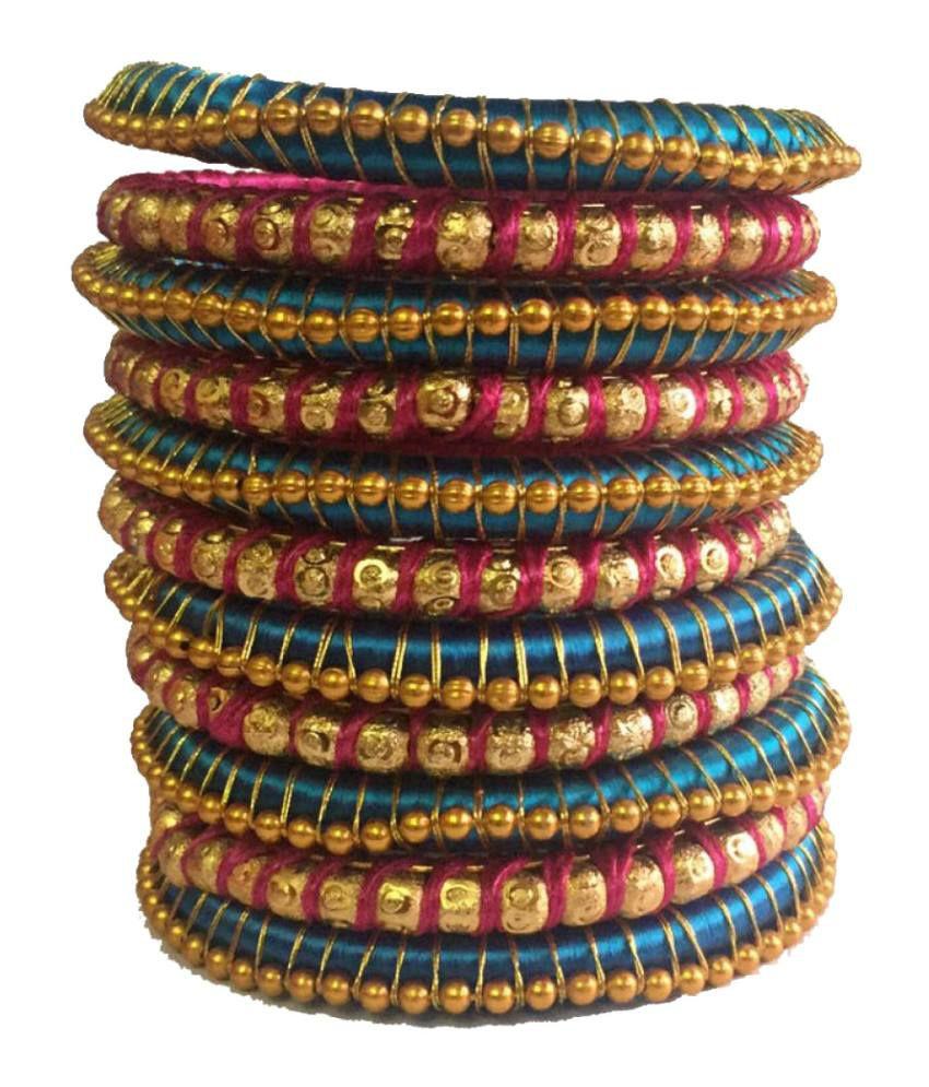 Kuhuk Multicolour Silk Thread Plastic Bangle Set