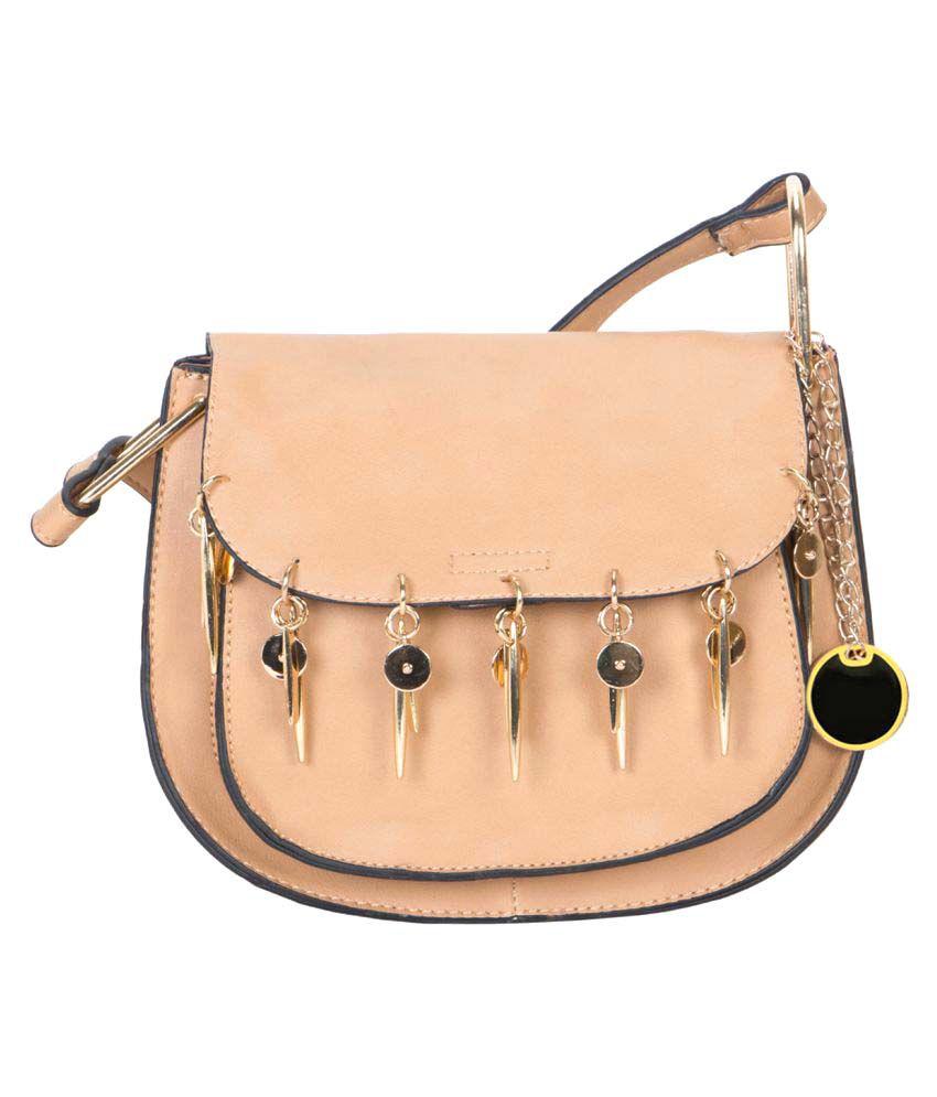 Crawler Khaki Faux Leather Sling Bag
