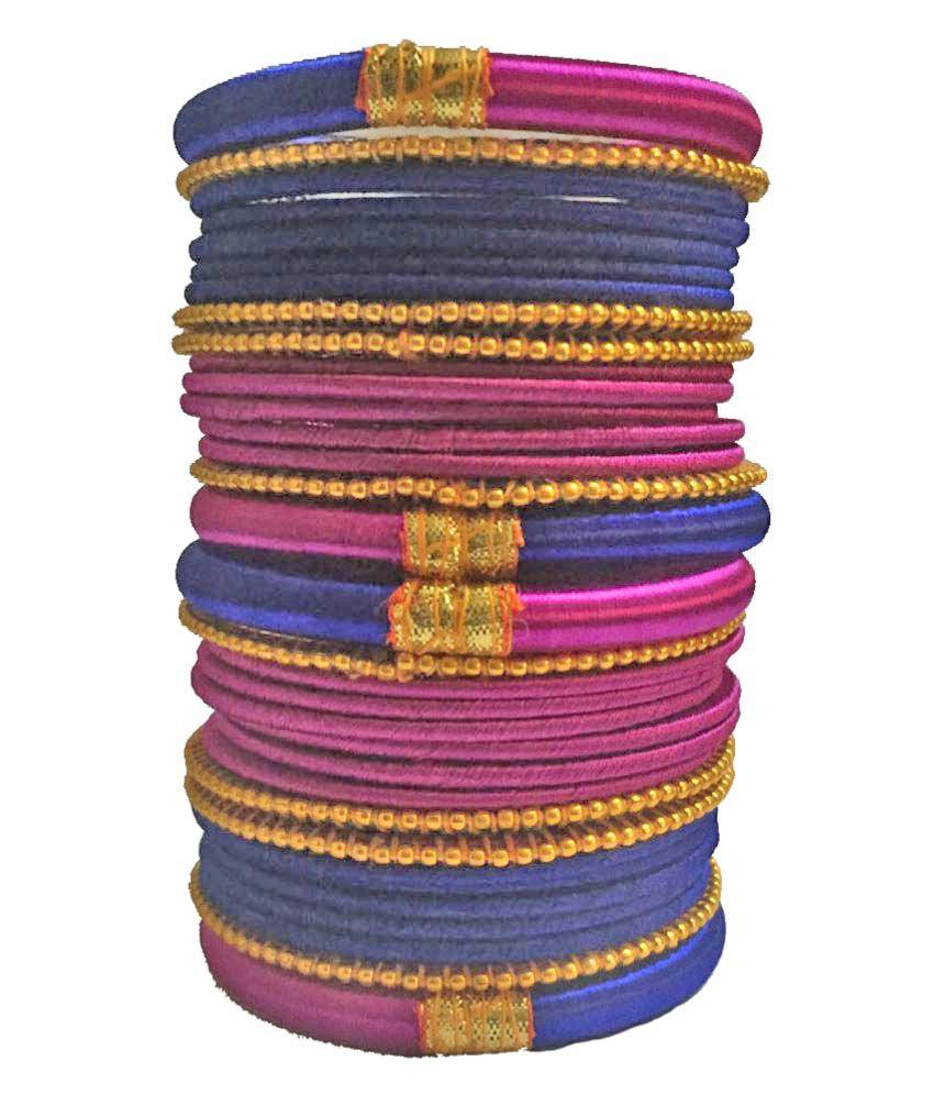 Kuhuk Multicolor Silk Thread Plastic Bangle Set