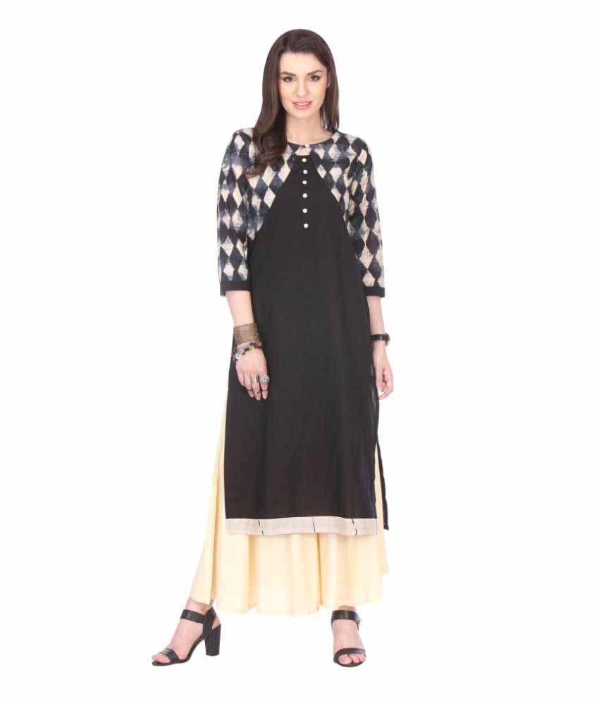 An Ethnic Affair Black Cotton Straight Kurti