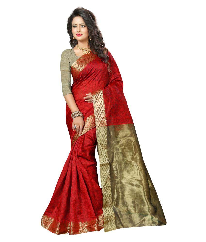 Fashiondeal Red Banarasi Silk Saree