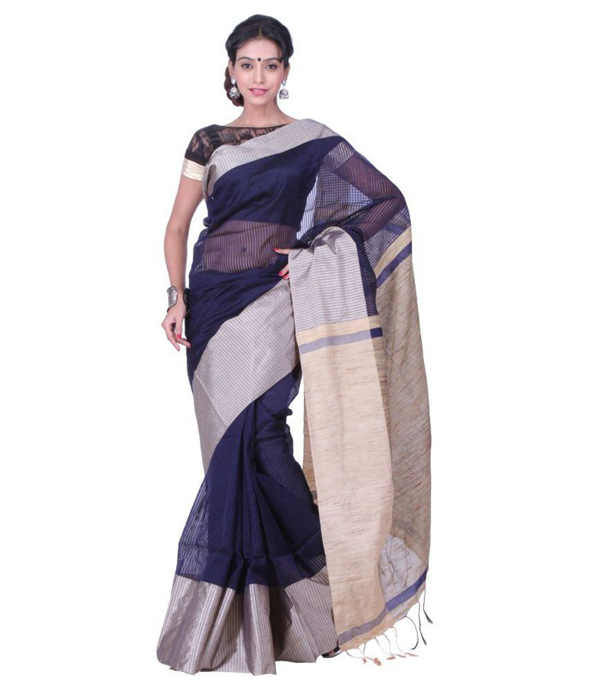 Sanrocks Global Fashions Blue Cotton Blend Saree