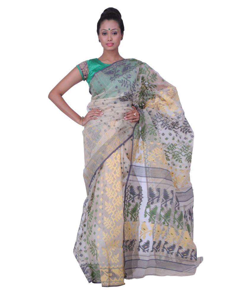 Sanrocks Global Fashions Multicoloured Jamdani Saree