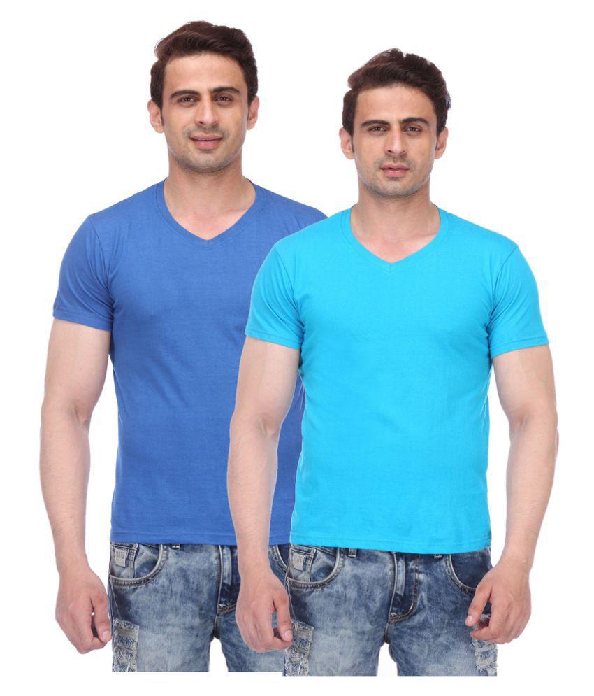 TeesTadka Blue V-Neck T-Shirt Pack of 2