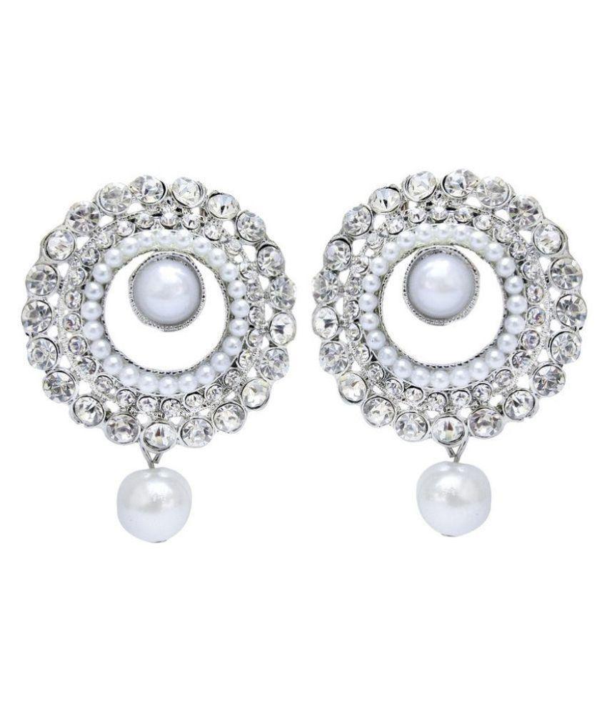 Jewels Guru White Hanging Earrings