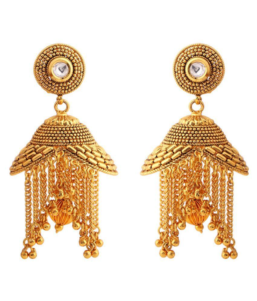 Rajwada Arts Golden Brass Designer Jhumki Earring