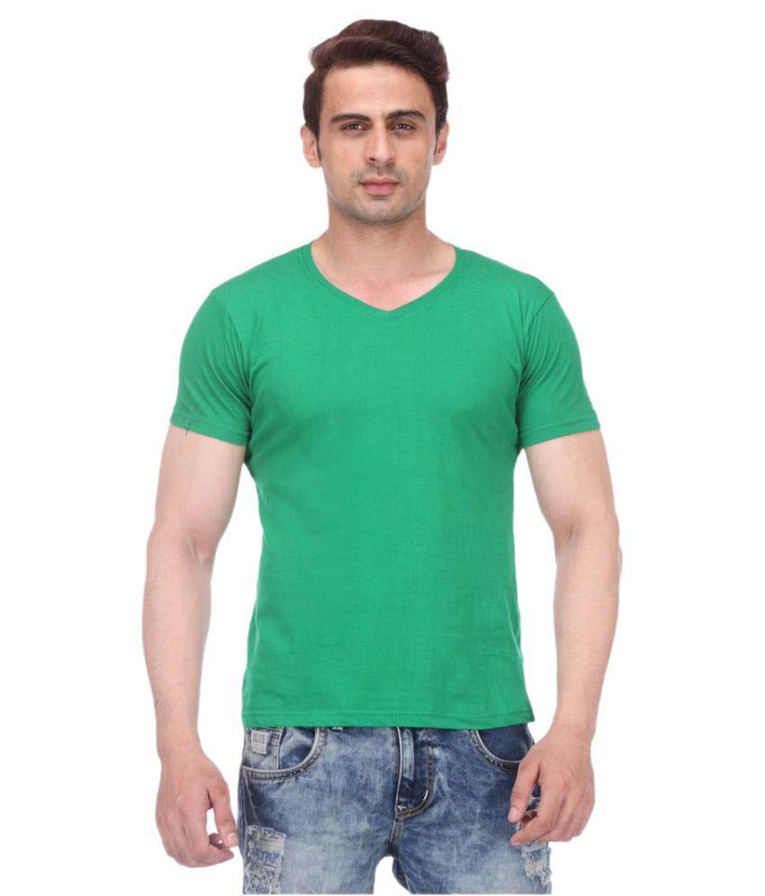 TeesTadka Green V-Neck T-Shirt