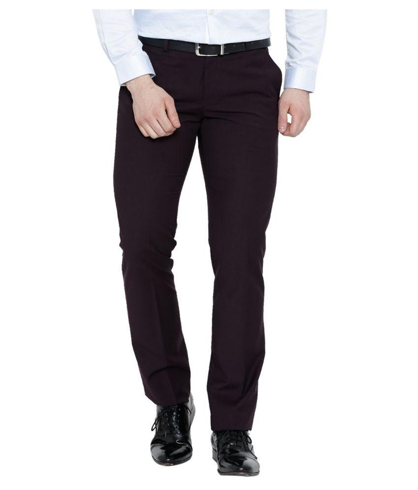 Blackberrys Maroon Slim Flat Trousers